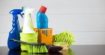 Cleaning concept with supplies